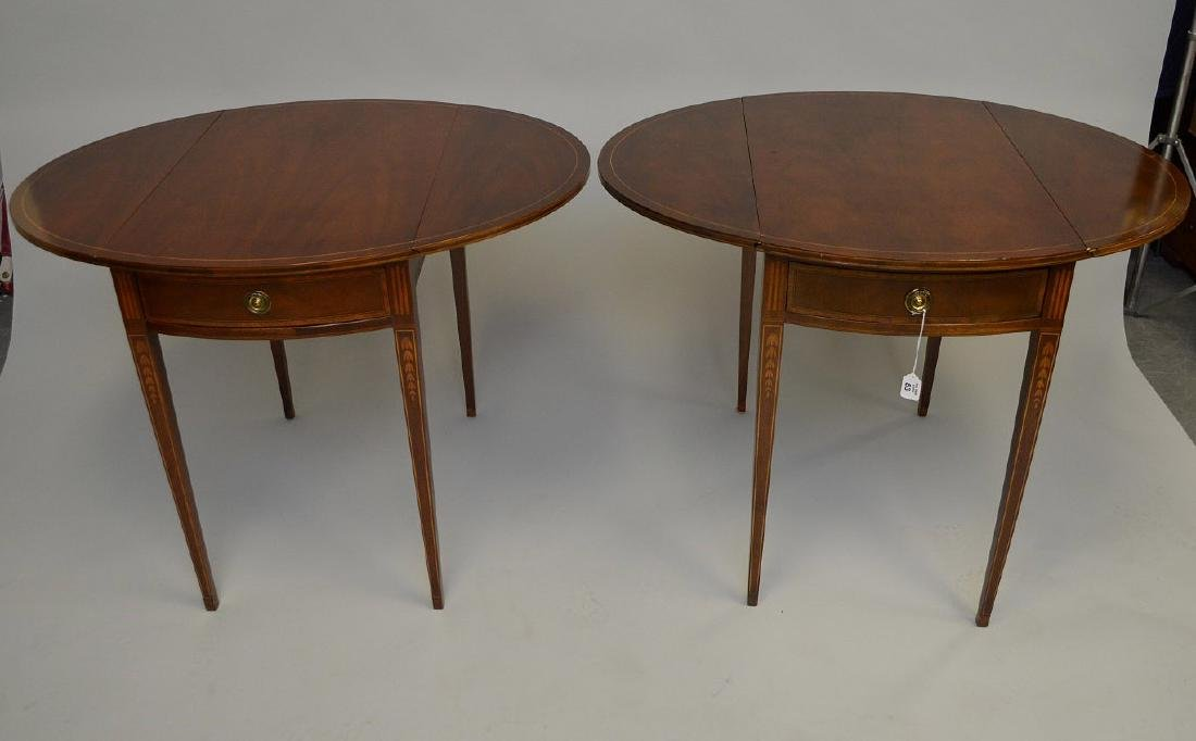 Pair Baker mahogany drop leaf tables with string inlay - 5
