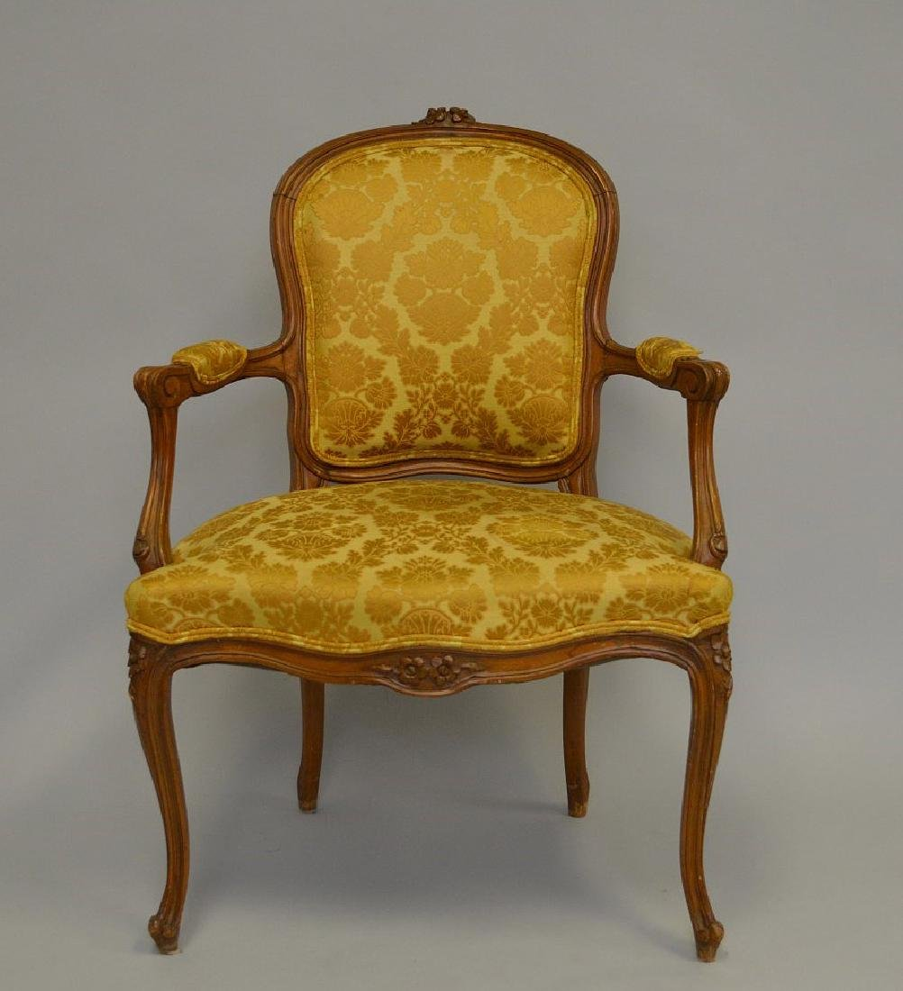 "French upholstered chair, gold, 38""h x 27""w x 21""d"