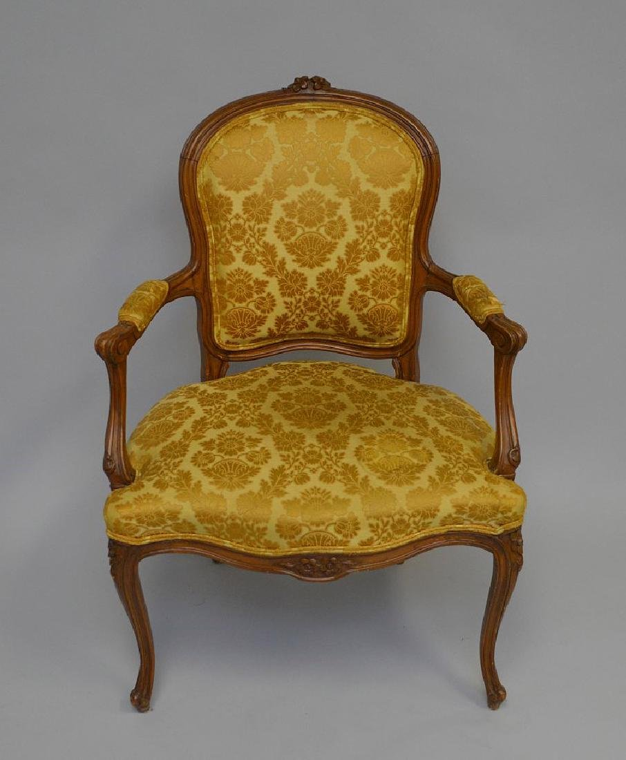 "French upholstered chair, gold, 38""h x 27""w x 21""d - 2"