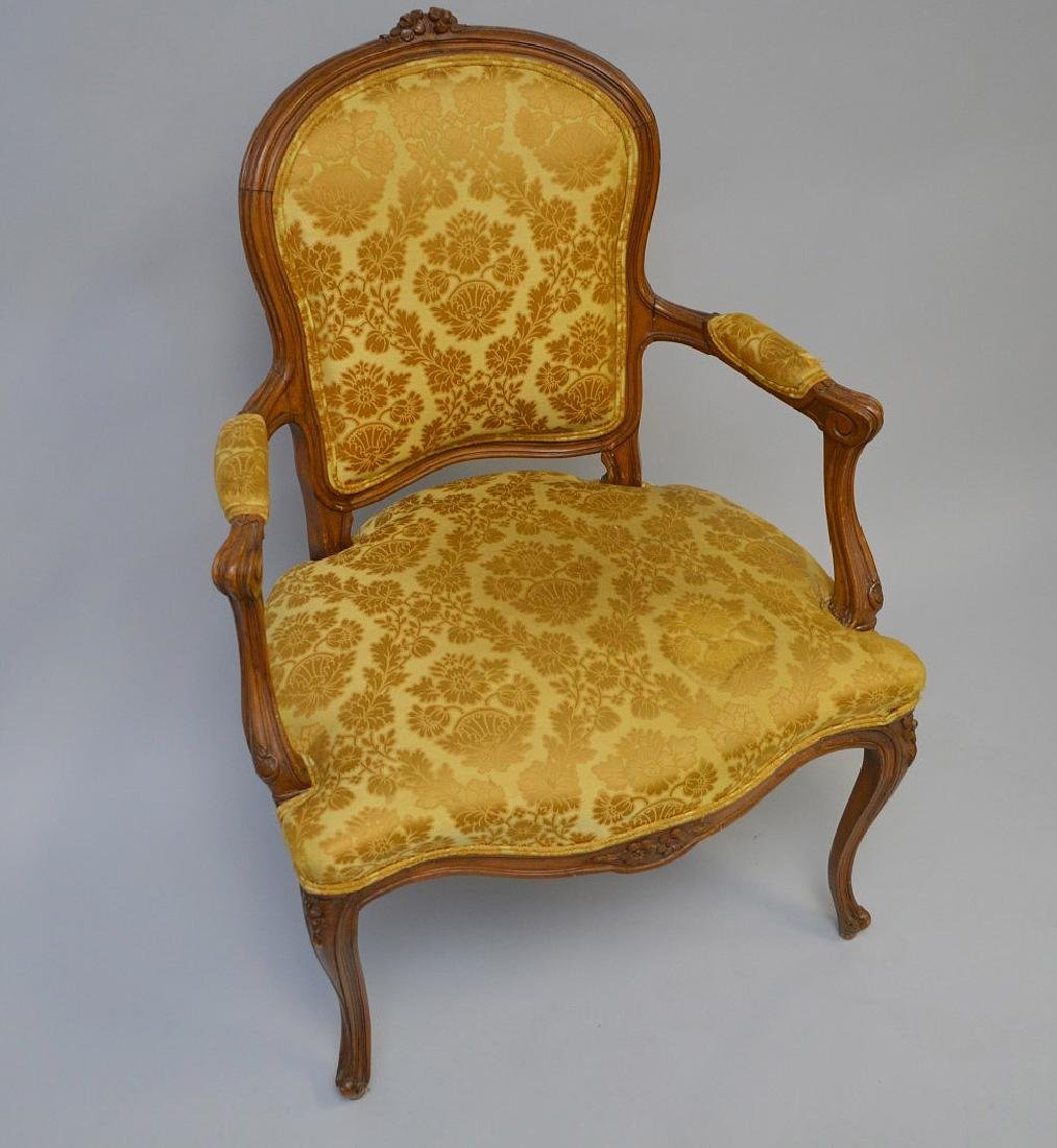 "French upholstered chair, gold, 38""h x 27""w x 21""d - 3"