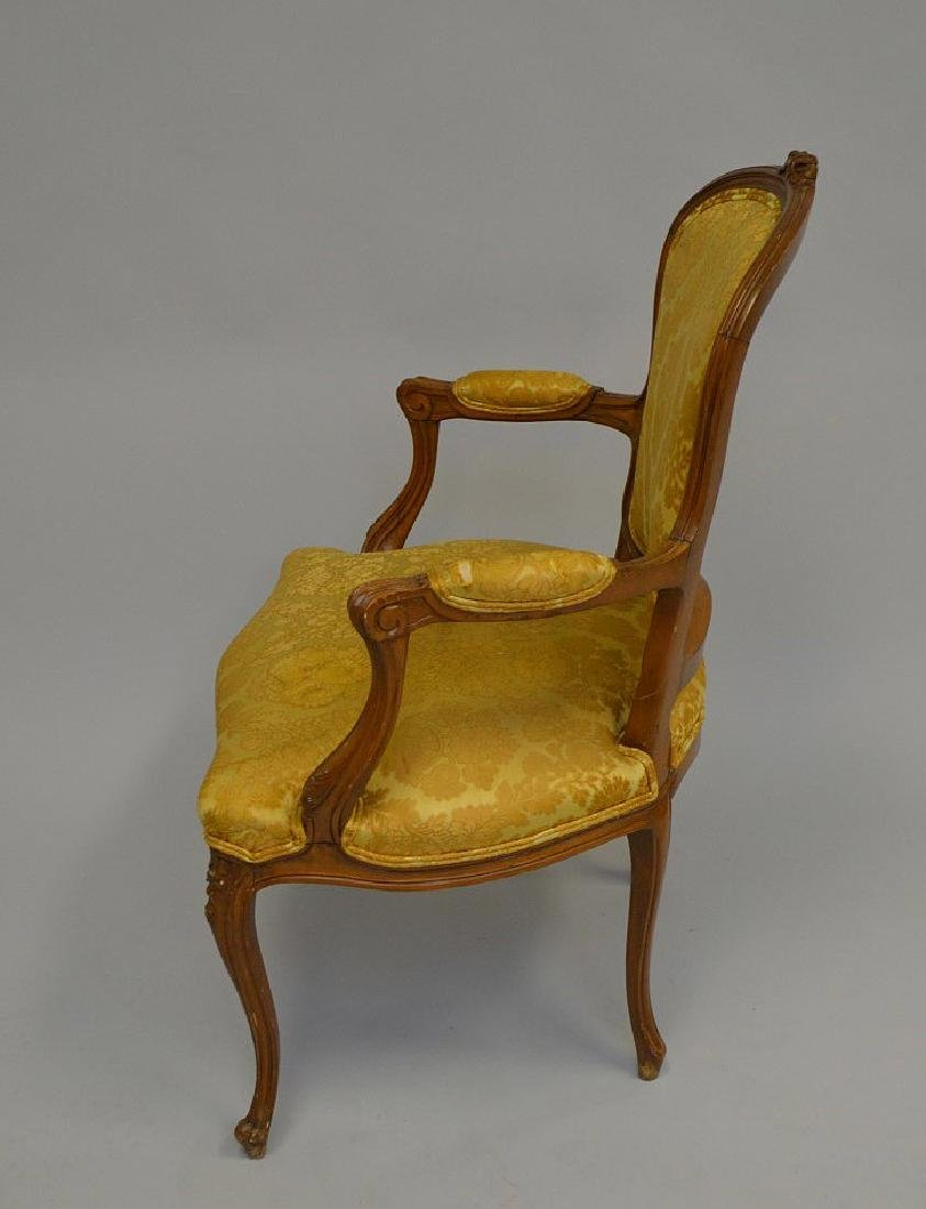 "French upholstered chair, gold, 38""h x 27""w x 21""d - 4"