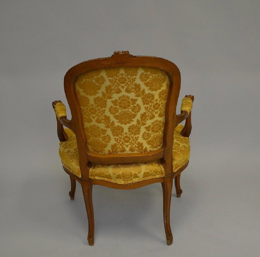 "French upholstered chair, gold, 38""h x 27""w x 21""d - 5"