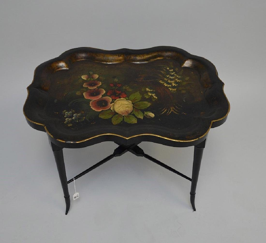 19th century Tole hand painted tray on custom base,