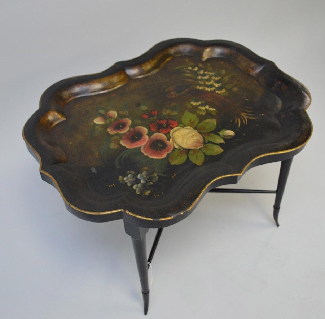 19th century Tole hand painted tray on custom base, - 3