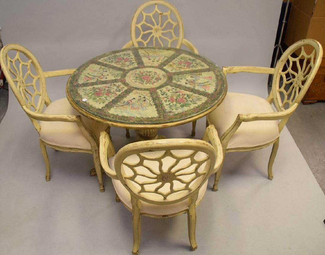 Antiqued white dining table & chairs with center