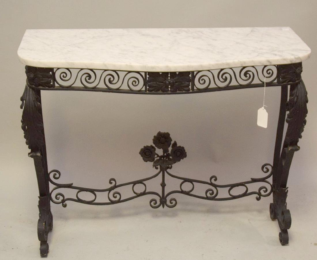 """Black iron scrolling console with marble top, 32""""h x"""