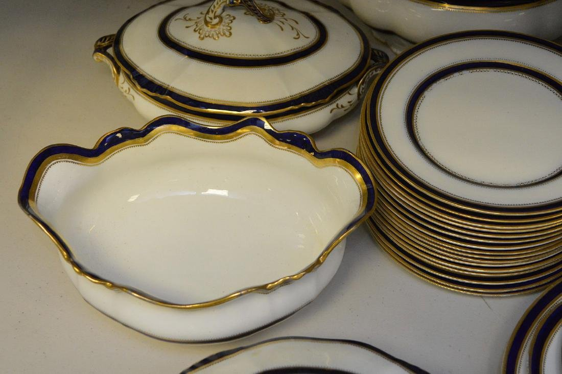 China service, Stoke English, cobalt blue & gold border - 5