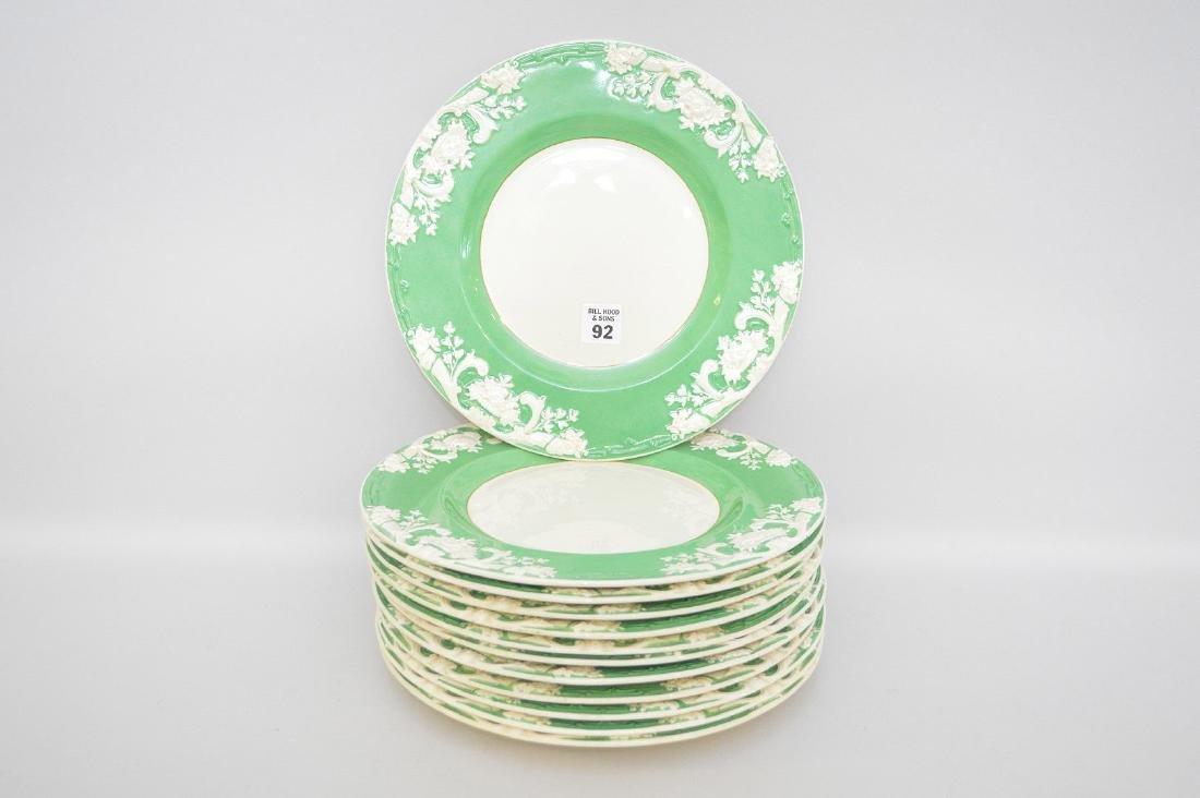 12 English dinner plates, George Jones, green border &