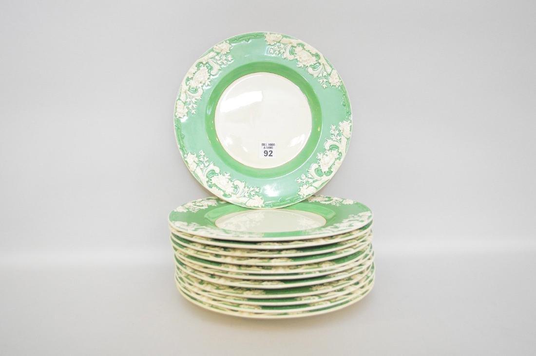 12 English dinner plates, George Jones, green border & - 2