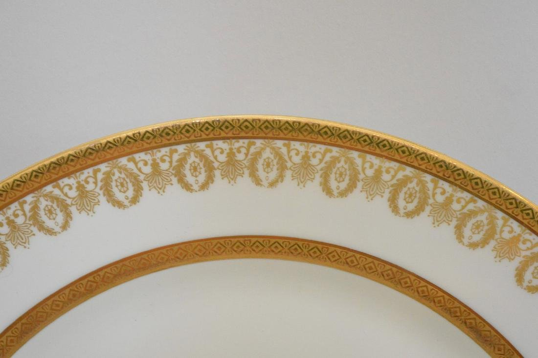 12 Limoges France dinner plates with gold wreath motif - 3