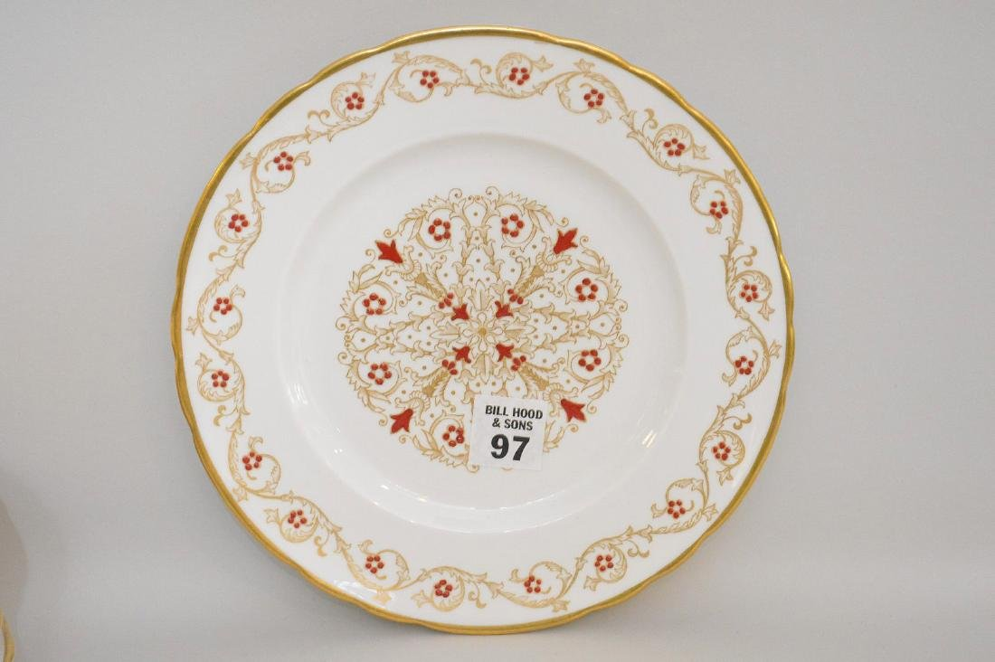 12 plates with red enamel design and gold trim (8 - 2