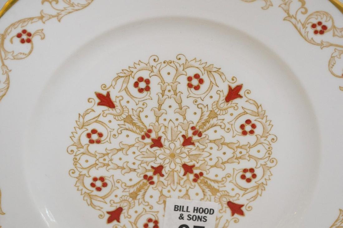 12 plates with red enamel design and gold trim (8 - 3