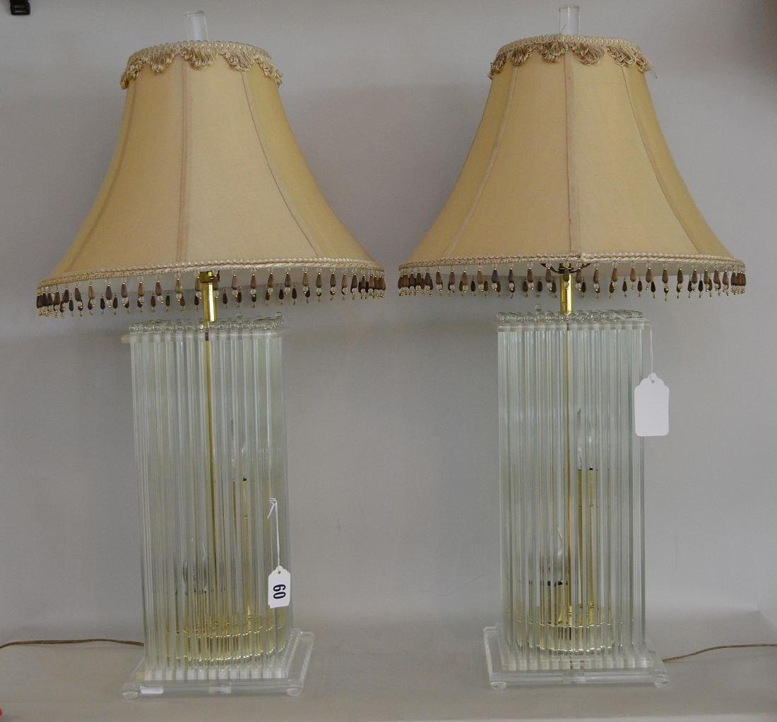Modern glass lamps consisting of 12 glass rods on each