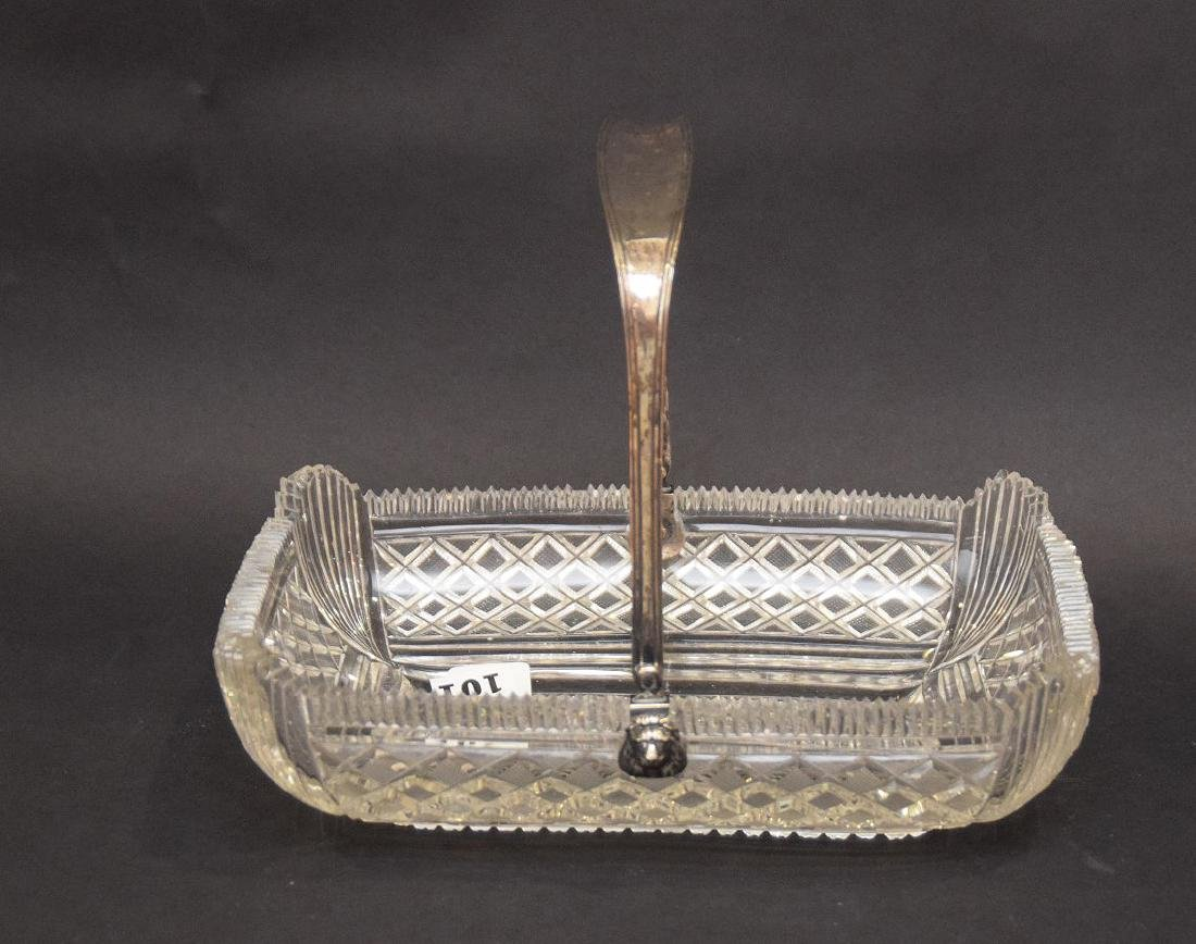 Brilliant period finely cut glass basket with silver
