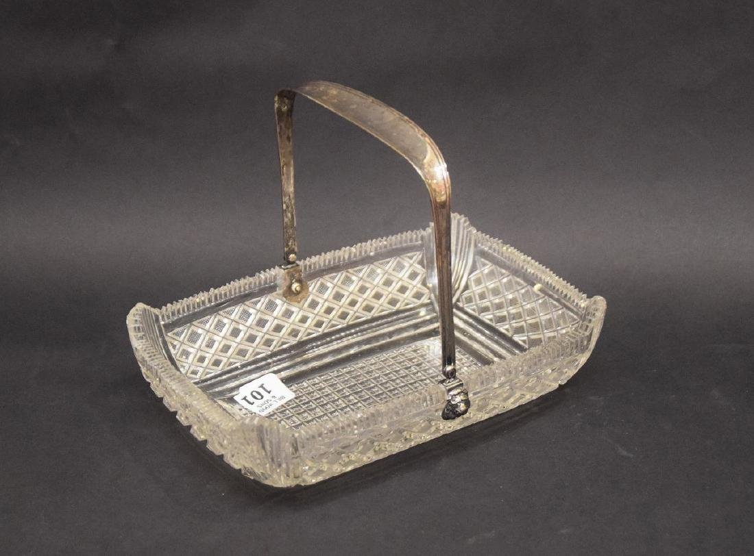 Brilliant period finely cut glass basket with silver - 3