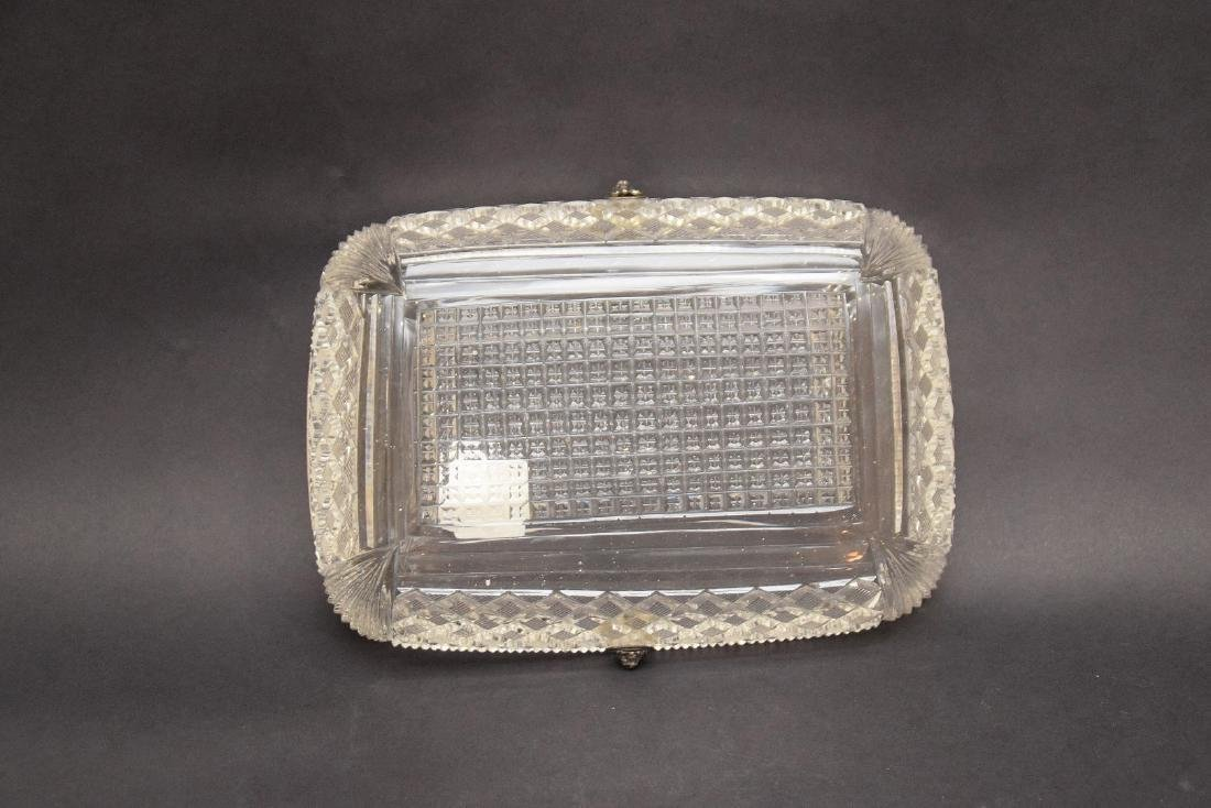 Brilliant period finely cut glass basket with silver - 4
