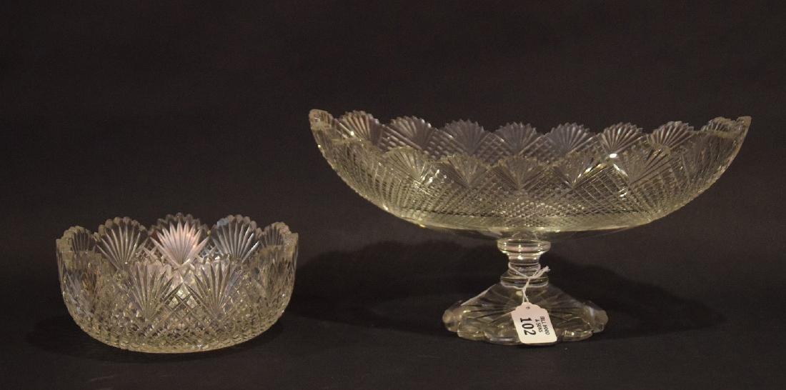 Oval pedestaled finely cut glass centerpiece, sawtooth