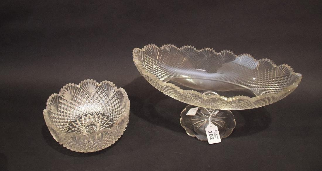 Oval pedestaled finely cut glass centerpiece, sawtooth - 2
