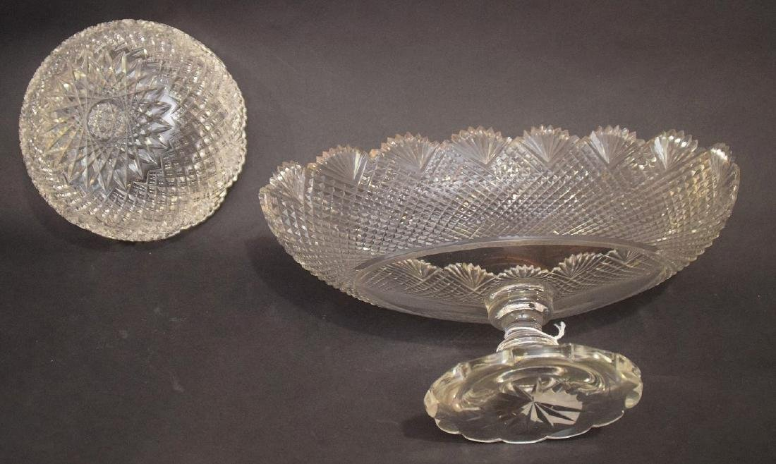 Oval pedestaled finely cut glass centerpiece, sawtooth - 3