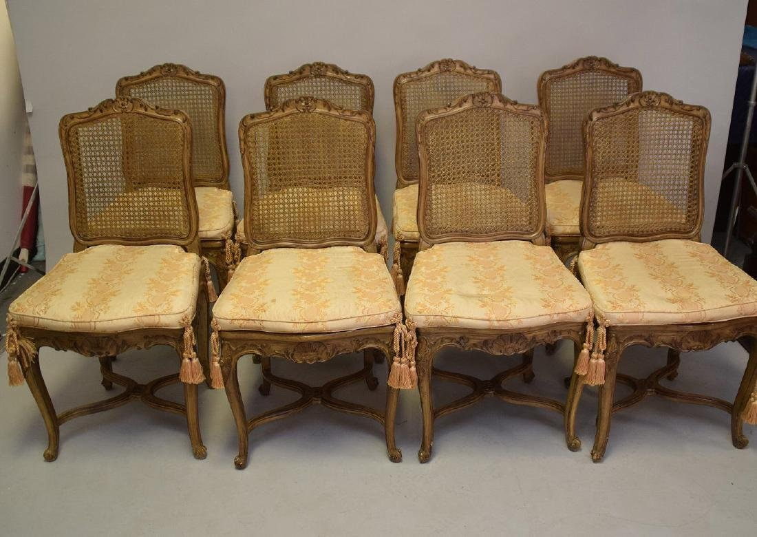 Set of Eight Carved and Painted Louis XV Style Dining