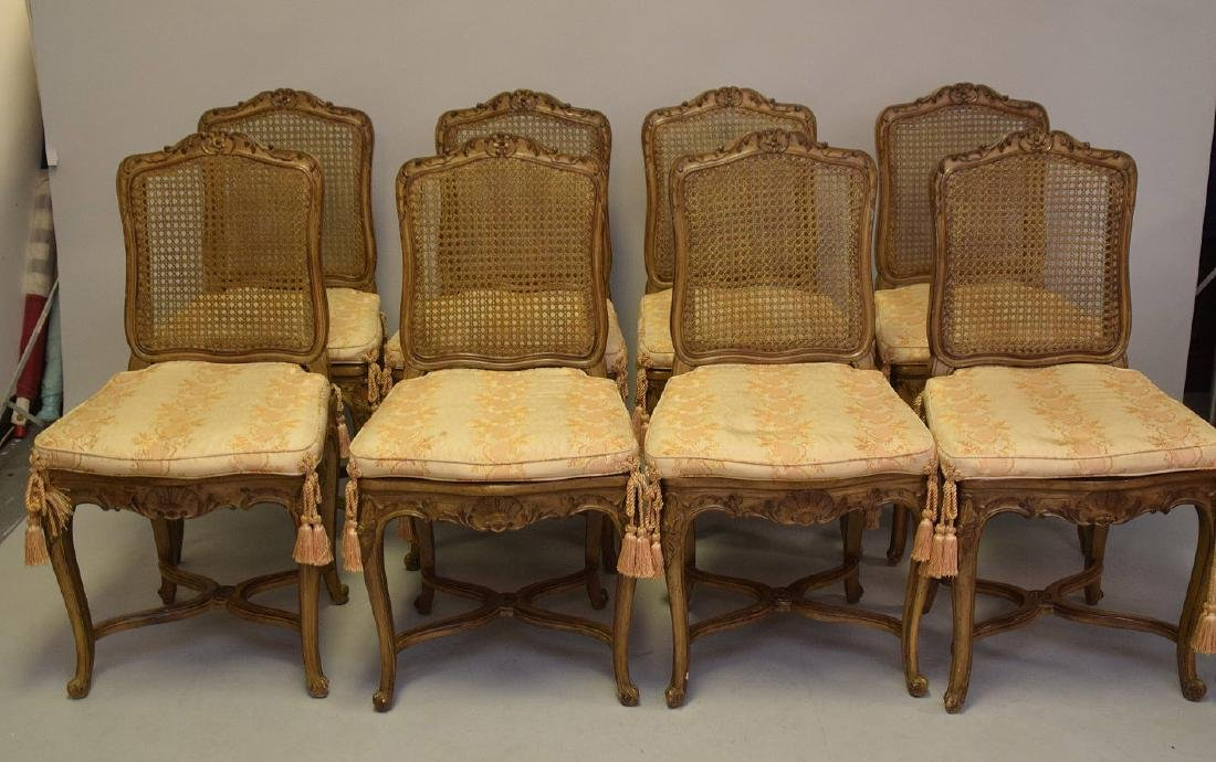 Set of Eight Carved and Painted Louis XV Style Dining - 2
