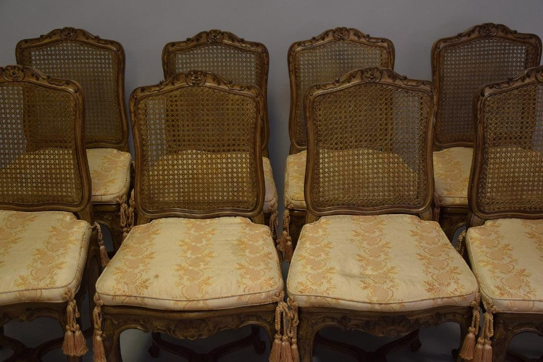 Set of Eight Carved and Painted Louis XV Style Dining - 3
