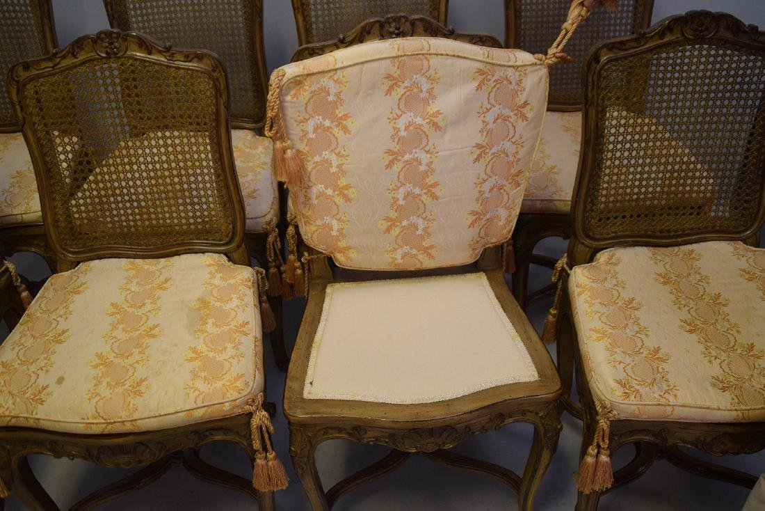 Set of Eight Carved and Painted Louis XV Style Dining - 4