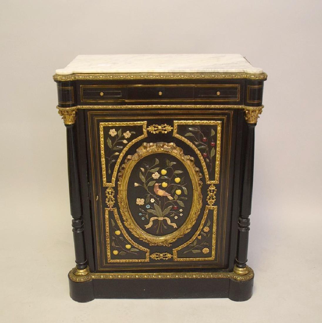 French Louis Phillippe/Empire Style Ebonized, Hardstone