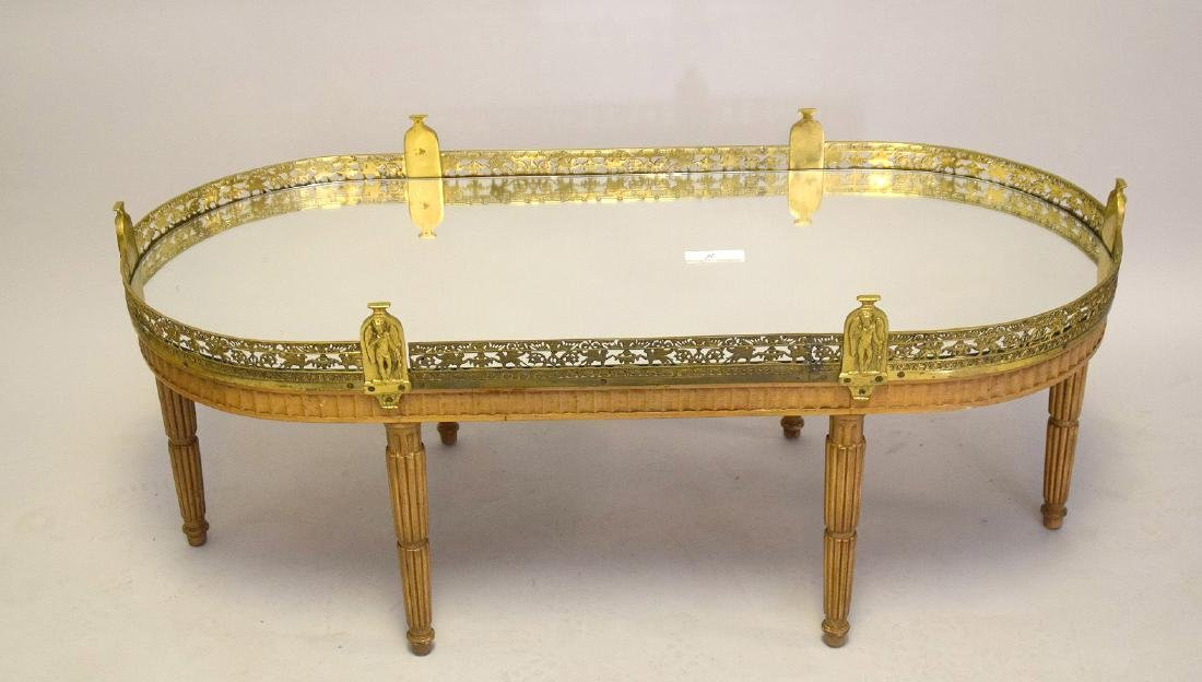 Louis XVI Style Mirrored, Wood and Brass Mounted Oval