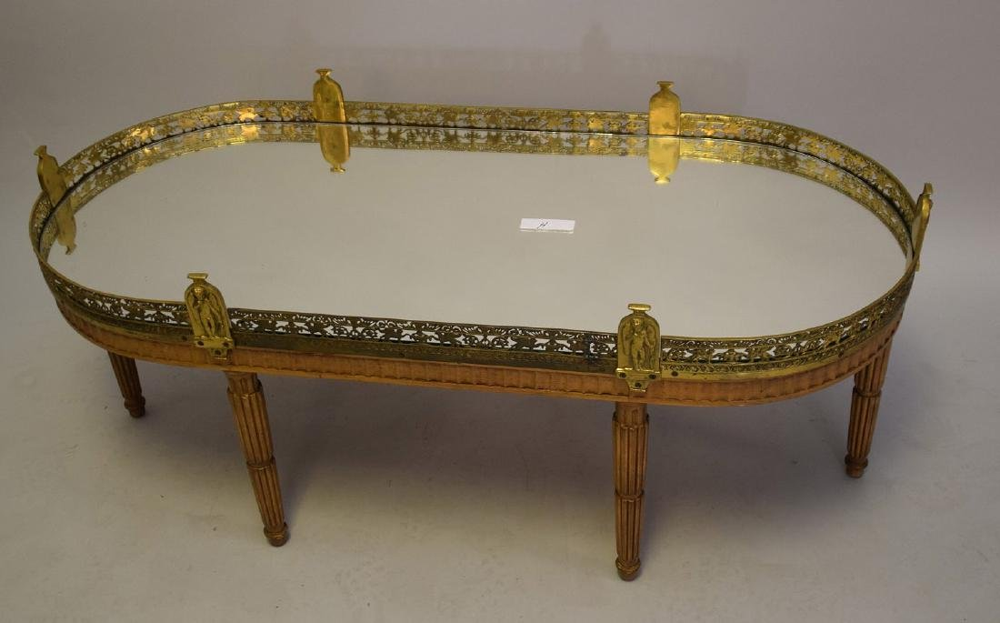 Louis XVI Style Mirrored, Wood and Brass Mounted Oval - 3