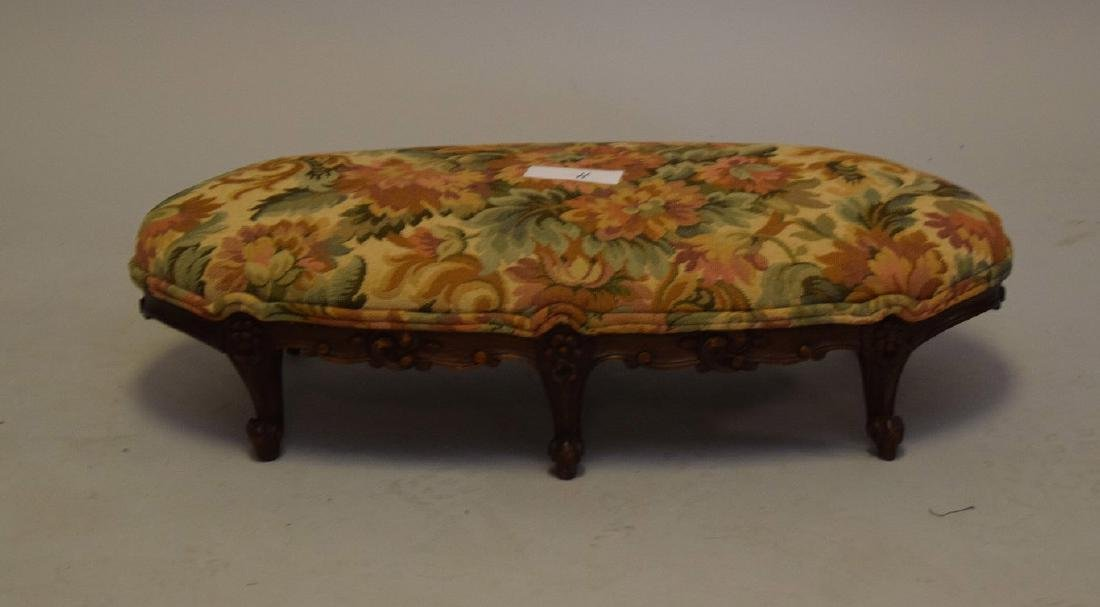 Louis XV style upholstered foot stool, six c-scroll