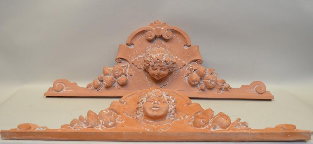 "Pair terracotta architectural lintels ""angels"", 32"