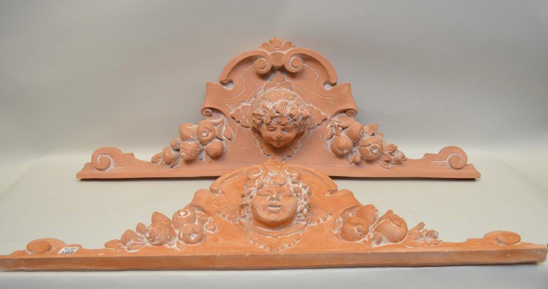 "Pair terracotta architectural lintels ""angels"", 32 - 2"