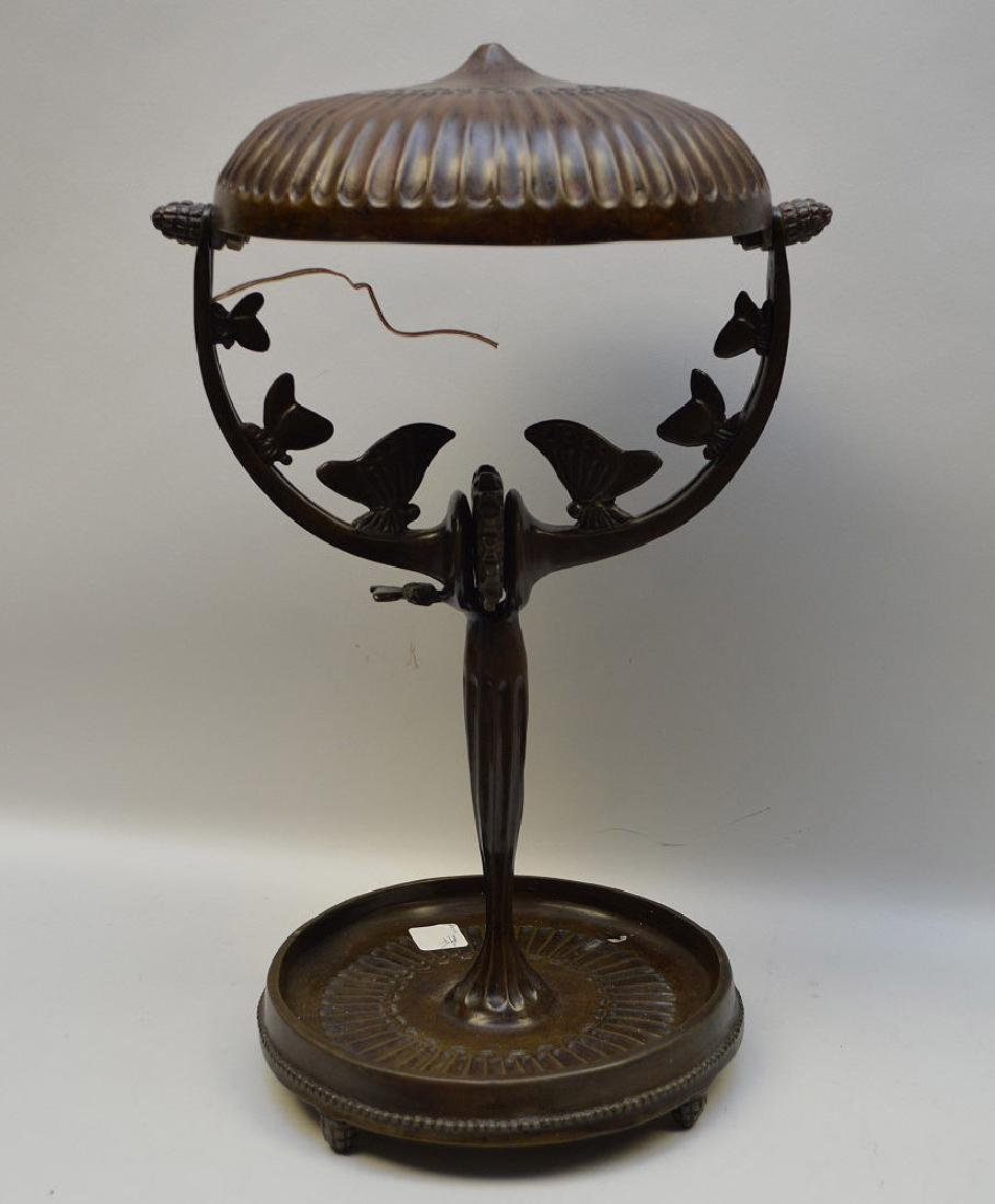 "Bronze lamp, after A. Rateau, 16""h (needs to be - 2"