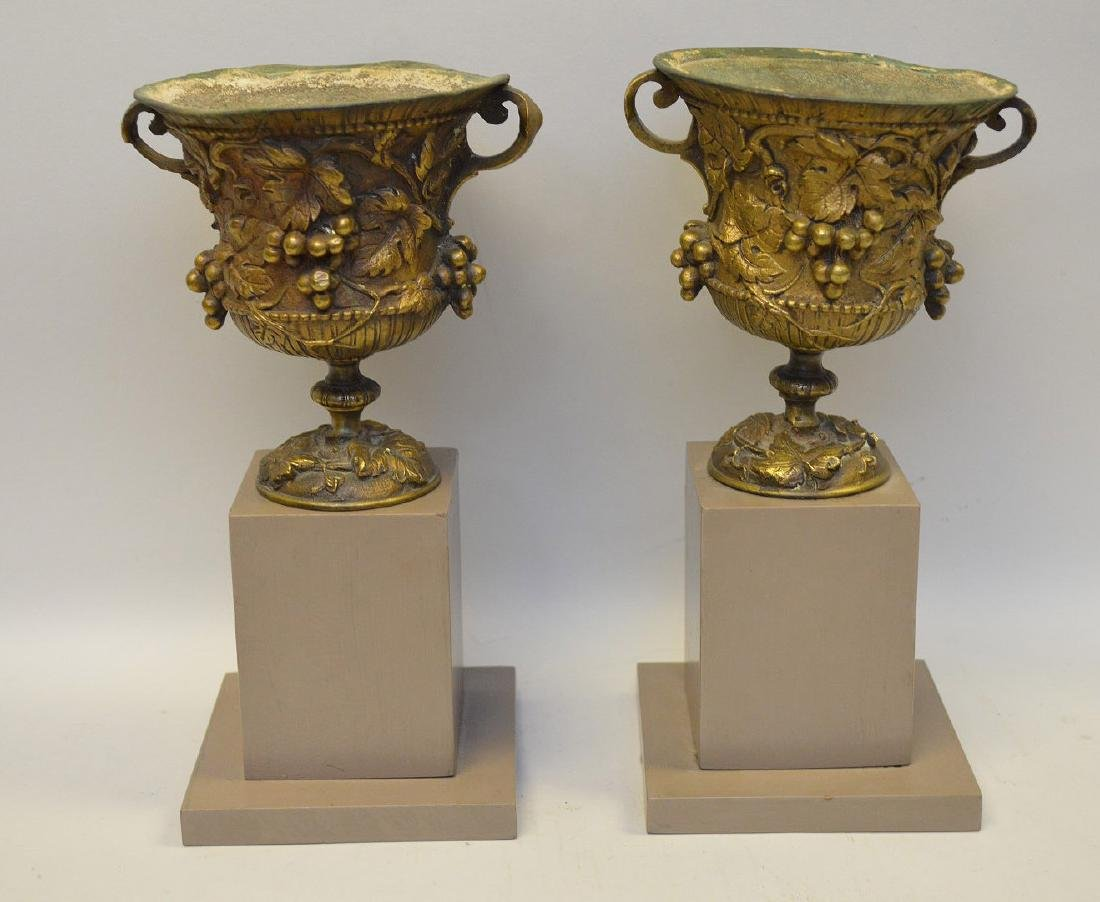 """Pair mounted bronze urns, grape motif, 9""""h overall (one - 3"""