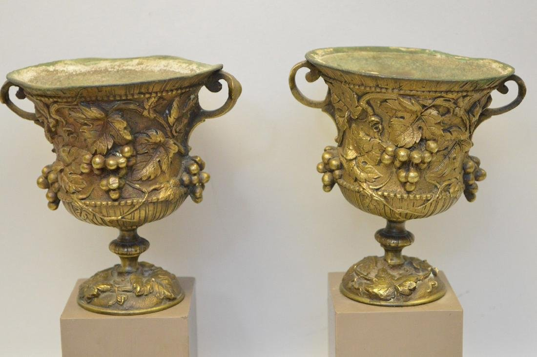 """Pair mounted bronze urns, grape motif, 9""""h overall (one - 4"""