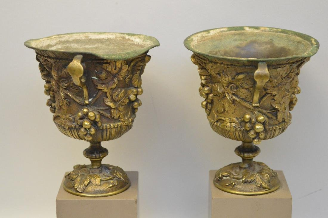 """Pair mounted bronze urns, grape motif, 9""""h overall (one - 5"""