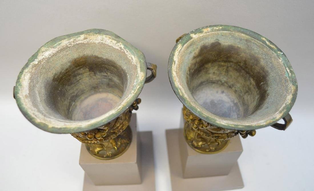 """Pair mounted bronze urns, grape motif, 9""""h overall (one - 7"""