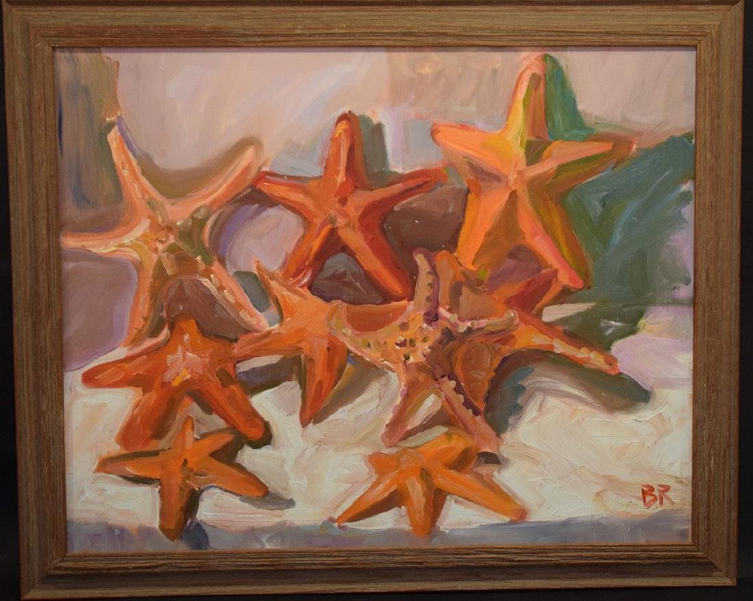 Original Painting, oil on board, Starfish, driftwood