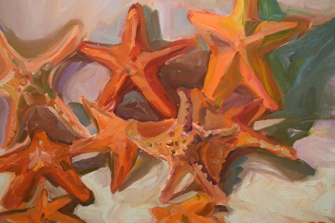 Original Painting, oil on board, Starfish, driftwood - 3