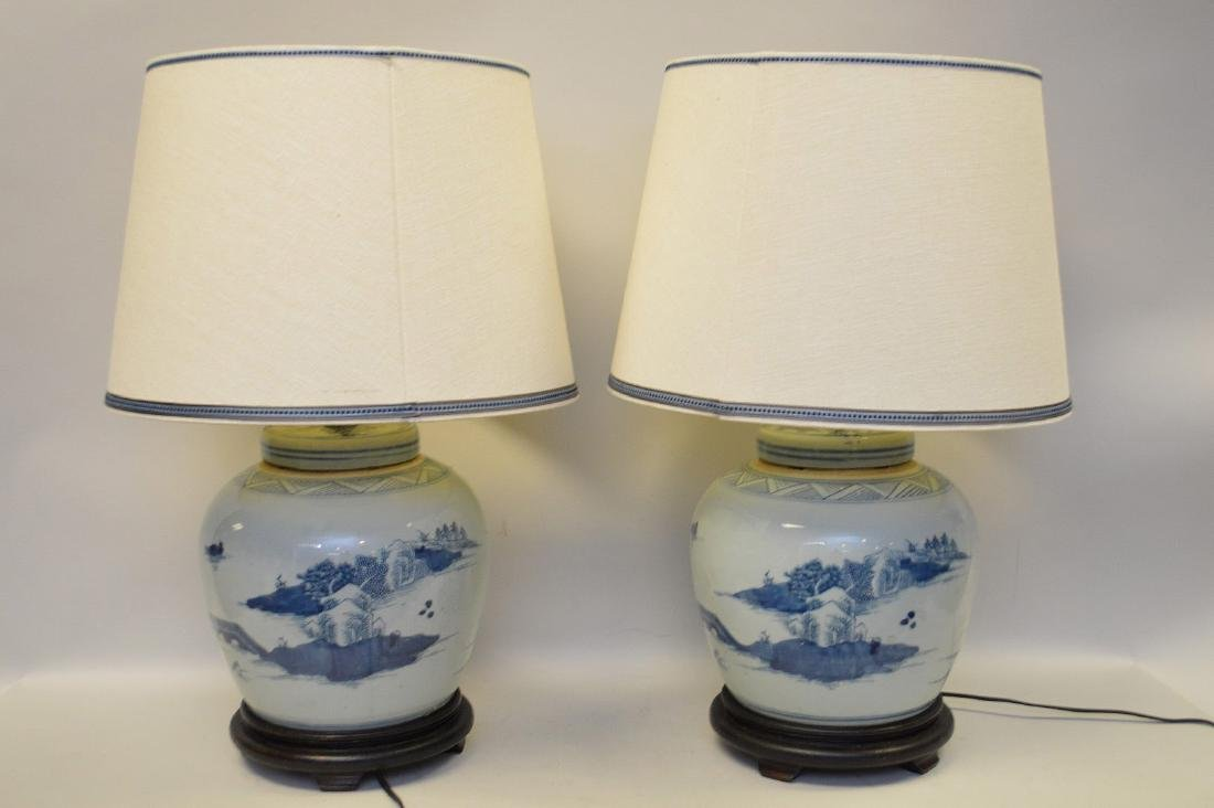 Pair 19th c. Canton ginger jars converted to lamps,