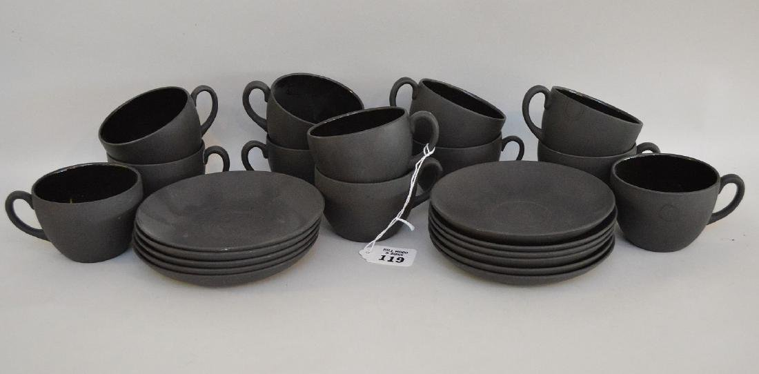 12 Black basalt Wedgwood cups & saucers