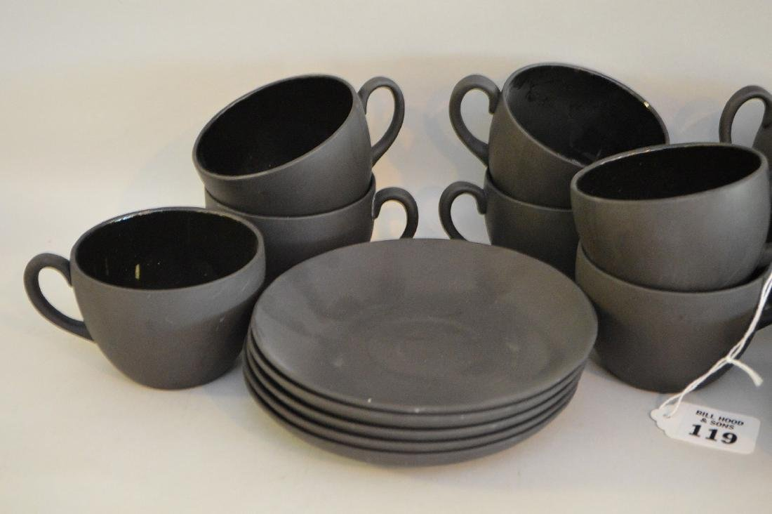 12 Black basalt Wedgwood cups & saucers - 2