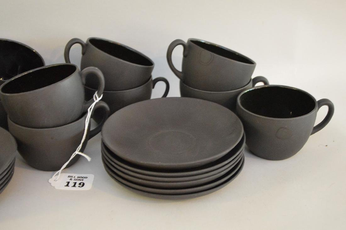 12 Black basalt Wedgwood cups & saucers - 3