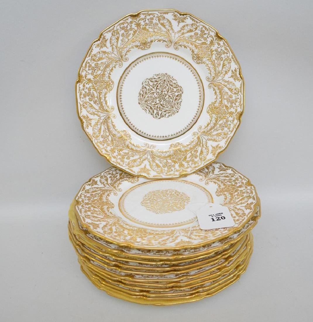 12 Royal Doulton dinner plates with heavy decorated - 2