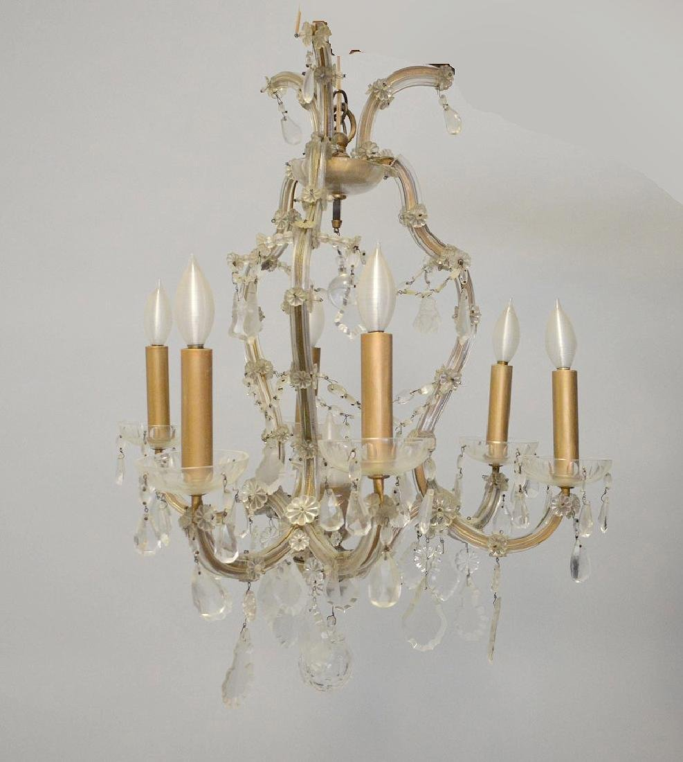 "Chandelier with crystal prisms (27""h x 26""w) and 6"