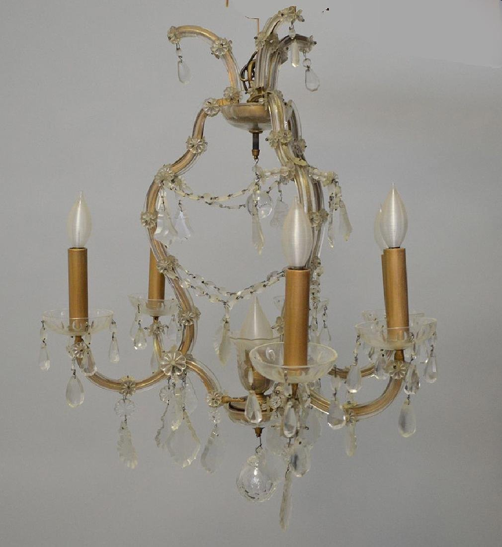 "Chandelier with crystal prisms (27""h x 26""w) and 6 - 6"