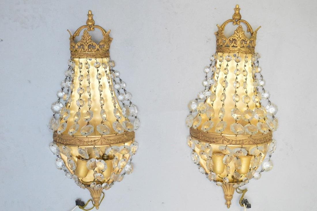 Pair of gilt metal and beaded crystal wall sconces,