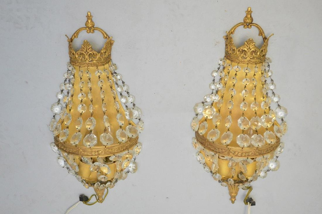 Pair of gilt metal and beaded crystal wall sconces, - 2