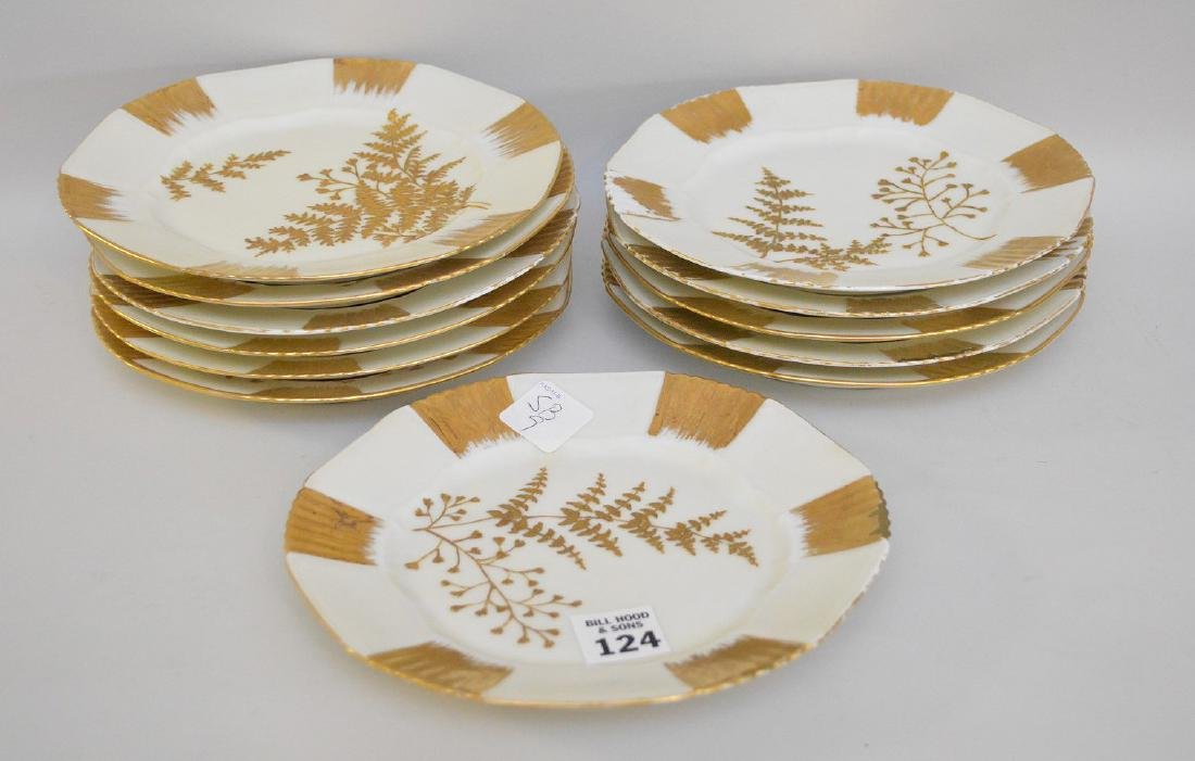 "12 Limoges gold and cream dessert dishes, 7 1/2""d"